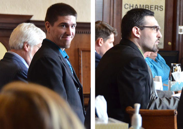 "Dustin Merrick, 27, and Bret Merrick, 25, were in court Wednesday, Sept. 12, as part of their plea deals in the shooting deaths early last year of local residents William ""Skip"" Brown and Sherri Mendenhall. (Photos by Carol Simmons)"