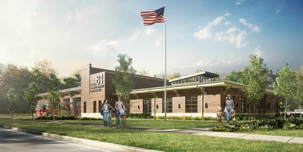 A recent rendering of the Miami Township Fire-Rescue station by project architects MSA Architects of Cincinnati shows what the new fire station along Xenia Avenue may look like. The project has been delayed because an initial bid to construct it was too high. (Rendering courtesy of MSA Architects)