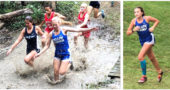 LEFT: YSHS runner Evelyn Potter, center, mastered one of the many creek crossings at the Bellbrook Invitational last Saturday. Potter finished the 5k race in 24:13.7. RIGHT: Freshman Avery Reeder had the best time of the YSHS girls team at the Bellbrook Invitational. She finished in 23:38.3. (Submitted photos)