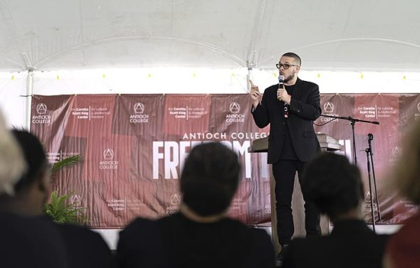 Nationally known civil rights activist Shaun King headlined a Freedom to Vote Rally on the horseshoe at Antioch College on Sunday, Sept. 23. He spoke to a crowd estimated at 250, sharing suggestions for movement building and social change. (Submitted photo by Elena Dahl)