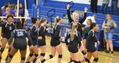 Once again, they are the champions. The Yellow Springs High School girls volleyball team clinched a share of the Metro Buckeye Conference title in straight sets on their home court on Thursday, Sept. 27. After winning back-to-back MBC titles in 2015 and 2016, the team lost it last year, to the very team they bested last Thursday — Emmanuel Christian. The victory was sweet, but the team still has its sights set on winning the conference outright. From left are Annlyn Foster, Ateerys Wagner, Angie Smith, Ava Schell, Tyler Linkhart, Olivia Snoddy, Alex Ronnebaum (with arms raised) and Aaliyah Longhsaw. Not pictured is Emma Ronnebaum. The team hosts Dayton Christian at YSHS at 7 p.m. Tuesday, Oct. 9, in its final regular season game. (Photo by Megan Bachman)