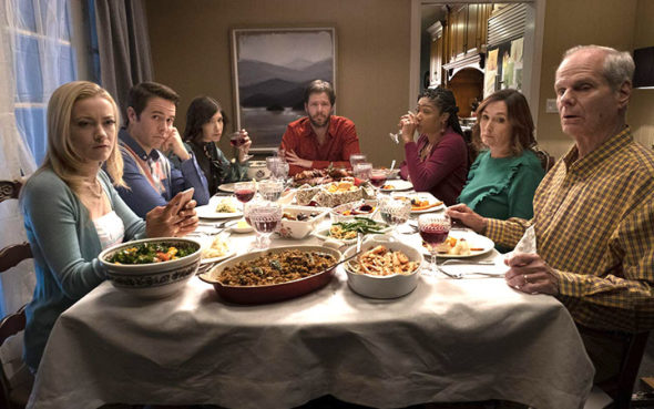 "In Ike Barinholtz's ""The Oath,"" a politically divided family gathers for Thanksgiving dinner the day before all Americans have been asked — under some duress — to sign the titular oath of loyalty to the United States. As tensions rise around the holiday table, the family is threatened when two federal agents drop by to question Chris (Ike Barinholtz), who is a vocal opponent of The Oath. Clearly enjoying their Thanksgiving meal around the table are, from left: Abbie (Meredith Hagner), Pat (Jon Barinholtz), Alice (Carrie Brownstein), Chris, Kai (Tiffany Haddish), Eleanor (Nora Dunn) and Hank (Chris Ellis). (Submitted photo)"