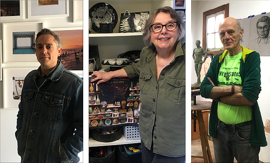 A few of the 29 local artists opening their studios for a villagewide gallery sale this weekend are, from left, photographer Matthew Collins, potter Dianne Collinson and sculptor Brian Maughan. (Photos by Jeff Simons)