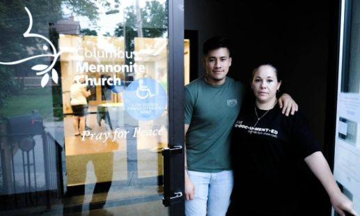 Edith Espinal and her son, Brandow Gonzalez, at the Columbus Mennonite Church. Espinal sought sanctuary there under threat of deportation in September of 2017. (Photo from themennonite.org)