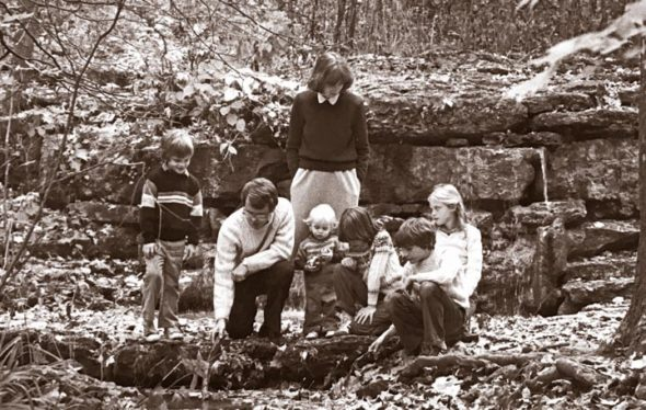 Mike DeWine and  family gathers in the Glen for a photo that was used in a 1980 campaign ad that ran in the News when he ran for state senator. From left are John, Mike, wife Fran, Brian, Becky, Pat and  Jill DeWine. (News archive photo)