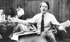 Photos from the political career of local conservative Mike DeWine fill a file folder in the Yellow Springs News archives, although in some cases the context has been lost. At top, DeWine addresses what looks to be a group of students. (YS News Archives)