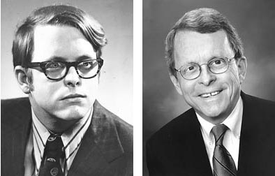 Photos By (L) Axel Bahnsen; (R) John TutuRros, Creative commons license Mike DeWine is looking to become the first governor to hail from the village. At left, is an Axel Bahnsen portrait of DeWine from 1972, seven years after his graduation from Yellow Springs High School, and at right is a recent campaign photo.