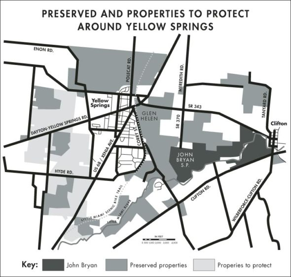 The Jacoby Greenbelt west of the village contains the largest concentration of properties that the Village, working with the Tecumseh Land Trust, hopes to preserve permanently as agricultural and conservation land. (Map by YS News; data courtesy of Tecumseh Land Trust)