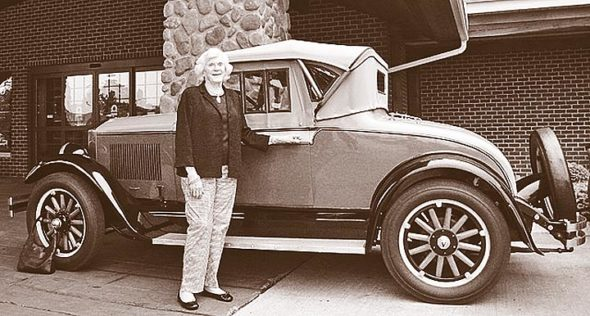 Fleury Velie Mackie and her roadster.