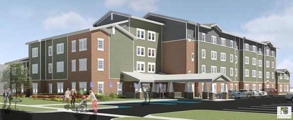 An architect's rendering of the proposed senior housing. (Courtesy of Home, Inc.)