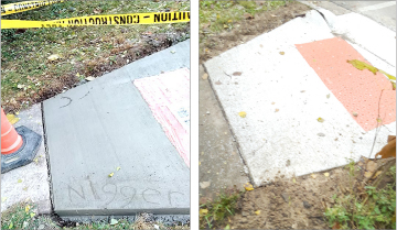 A newly poured concrete curb along West South College and Wright streets was defaced with a racial slur on Oct. 30 (left), and was smoothed over before it set completely (right) by a worker. (Photos Submitted by Kevin McGruder)