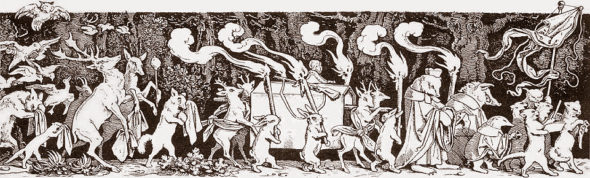 """Perhaps the most famous association with Mahler's Symphony No. 1 is that of the whimsical engraving """"The Hunter's Funeral Procession,"""" cut in 1850 by Austrian artist Moritz von Schwind."""