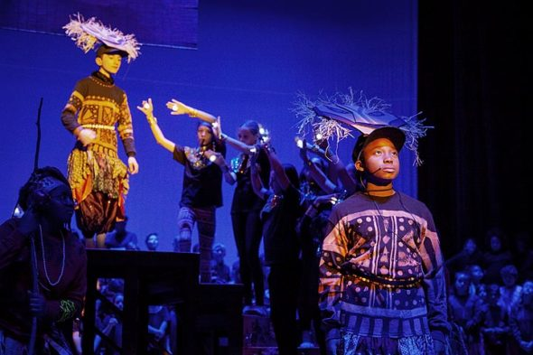 "Mills Lawn Elementary School performed its all-school musical on Thursday, Nov. 15. More than 200 first- through sixth-grade students brought ""The Lion King KIDS"" to life. Pictured above, the lion Mufasa, top, played by sixth-grader Conor Anderson, speaks from the afterlife to his son, Simba, played by sixth-grader James White. (Photo by Matthew Collins)"