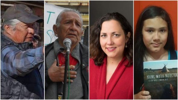 Left to right: Danny Blackgoat, Guy Jones, Victoria LaPoe, Aslan Tudor. All four will speak at two upcoming events this weekend in Dayton. Blackgoat and Jones are also collecting donations for the Dineh on Black Mesa in Arizona and for Standing Rock Reservation. (Submitted photos)
