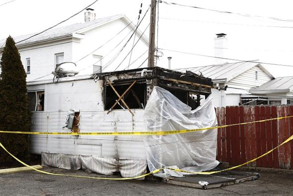 A fire over the weekend at the Aahar India food trailer left the trailer — parked in the Corner Cone lot — badly damaged. Owner Akhilesh Nigam is now seeking community support to rebuild and reopen the Indian take-out restaurant.  (photo by Gary McBride)