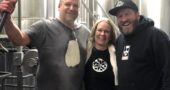 "Brewer Jon Vanderglas, Little Art Theatre Executive Director Jenny Cowperthwaite, and Paul Herzog of Yellow Springs Brewery at the recent ""brew day"" where the White Russian Milk Stout was crafted for the ""Big Lebowski"" event on Feb. 10. (submitted photo by Lisa Wolters)"