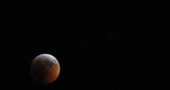 The Super Blood Wolf Moon, captured at around 11:50 p.m., Jan. 20–21. This full lunar eclipse — the last one until May, 2021 — lived up to its lengthy monicker in several ways.(Photo by Matt Minde)