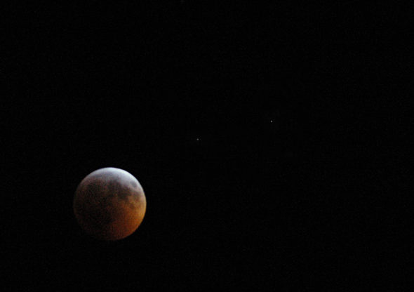 The Super Blood Wolf Moon, captured at around 11:50 p.m., Jan. 20. This full lunar eclipse — the last one until May, 2021 — lived up to its lengthy monicker in several ways.(Photo by Matt Minde)