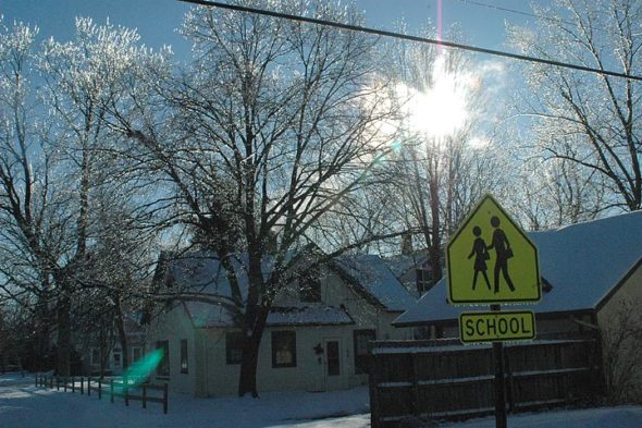 Ice covers January's bare trees. Slick road conditions from the refreezing of the recent melt gave rise to this morning's closure of schools. (Photo by Matt Minde)