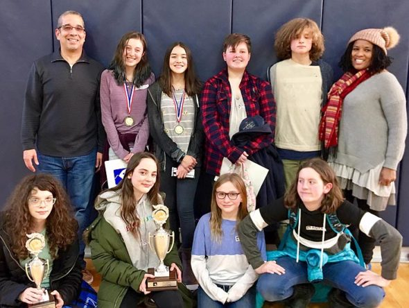 The McKinney Middle School Power of the Pen eighth-grade team took second place in district competition last weekend. Pictured from left to right, bottom row: Eva Vescio, Olive Cooper, Eve Diamond and Nevi Smith (seventh grade); back row: coach Jaime Adoff, Sylvia Korson, Dani Bieri, Izzy Millar, Sam Trelawny-Cassity (seventh grade) and coach Aurelia Blake.