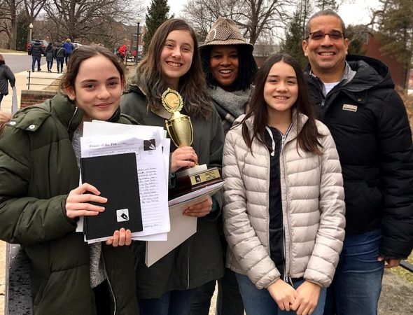 The eighth-grade McKinney Middle School Power of the Pen team competed in the Western Regional Tournament held at Wittenberg University on Saturday, March 9. Pictured, from left to right: Olive Cooper, Sylvia Korson, Aurelia Blake, Daniela Bieri and Jaime Adoff. (Submitted photo)