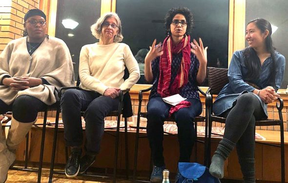 "The panel for ""Yellow Springs Celebrates International Women's Day"" featured, from left, Sierra Leone, a Dayton writer and poet who received the 2018 Ohio Governor's Award for Community Development and Participation; Neenah Ellis, station manager at WYSO, and Sirisha Naidu, associate professor of economics at Wright State University. The panel was moderated by Angie Hsu, at right. (Submitted photo)"