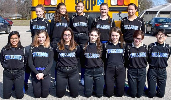 The Bulldog softball team gears up for a new season. Shown, front row from left, are Sara Zendlovitz, Lily Rainey, Zoe Lafferty, Lily Bryan, Bre Wallace, Rosemary Bermester and Rebecca Spencer; and back row from left, Ava Schell, Carina Basora, Stella Lieff, Hailey Burk and Leanna Taylor. (Photo by Luciana Lieff)