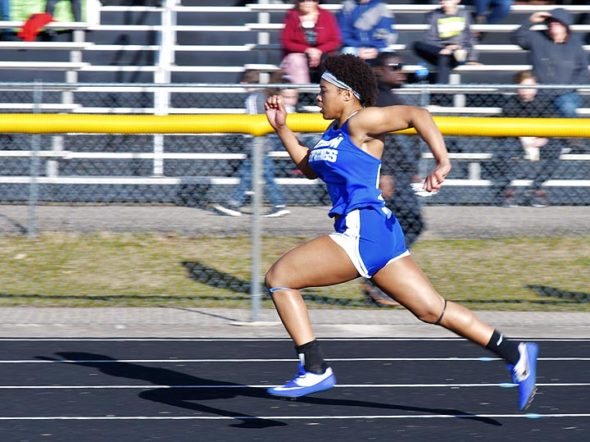 Annlynn Foster, above, and teammate Sophia Lawson were standouts Wednesday, March 27, when the Bulldogs opened their track season in a five-team meet at Springfield Shawnee. Both Foster and Lawson earned first-place finishes, with Foster in the 100 hurdles and Lawson in the pole vault. Both girls also were part of the first-place 400-meter relay team that included Malaya Booth and Haneefah Jones. (Photo by Kathleen Galarza)