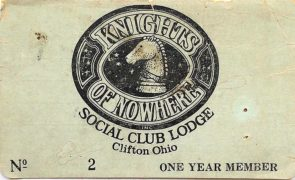 A Mystic Knights of Nowhere social club membership card. (Submitted photo)