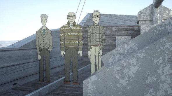 A still from the animated documentary, Day of the Western Sunrise, about 23 crew members of a fishing boat, who survived the atomic bomb test in the Bikini Atoll in 1954. (DALIBORKAfilms)