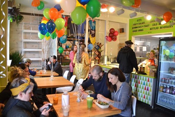 Greene Canteen officially opened for business on Saturday, April 20. Owned by villagers Brittany and Tim Baum, the new eatery offers smoothies, juices, soups, sandwiches, salads and homemade soft pretzels. Greene Canteen is located at 134 Dayton St. (Photo by Audrey Hackett)