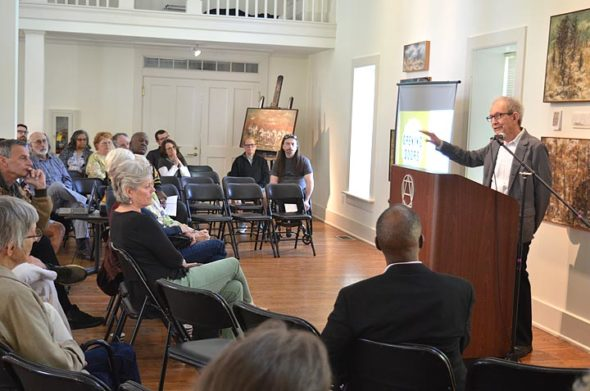 Longtime fair housing administrator (and Antioch alumnus) Larry Pearl gave attendees to Home, Inc.'s annual meeting a history of housing discrimination in America. The meeting was held at Antioch's Herndon Gallery on Sunday, May 5, and also commemorated the local affordable housing land trust's 20th anniversary. (Photo by Megan Bachman)