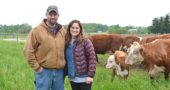Scott and Jillian Marshall are in their seventh year of raising beef cattle at their West Jackson Road farm a few miles northeast of the village. The local farmers —who still have their day jobs — love caring for the cows, teaching their children about the cycle of life and serving customers with antibiotic-free, mostly grass-fed beef. (Photo by Megan Bachman)