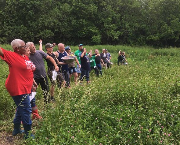 """Two weeks ago, 36 educators from public schools in Yellow Springs, Xenia, Fairborn, Springfield, and Dayton attended a two-day workshop at Agraria to create lesson plans around concepts like soil, regenerative agriculture and ecological restoration. Here, the educators threw """"seed balls"""" (Submitted photo)"""
