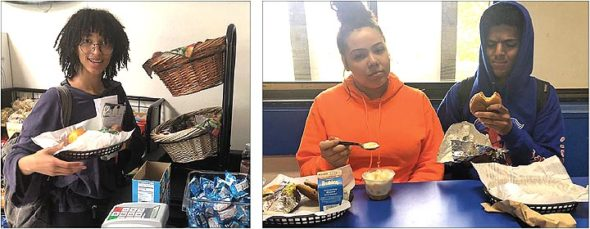 At lunchtime at YSHS this spring, left, Sumayah Chappelle looked optimistic about her lunch, while Alexis Longshaw and Romel Phillips didn't appear to be pleased with their meals. (Photos by Sokhna Sene)