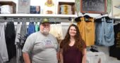 The father-daughter team of Mark and Morgan Heise opened the doors to Yellow Springer Tees & Promotions on June 3. Three weeks and one Street Fair later, the business is doing better than ever as a brick-and-mortar shop. (Photo by Reilly Dixon)