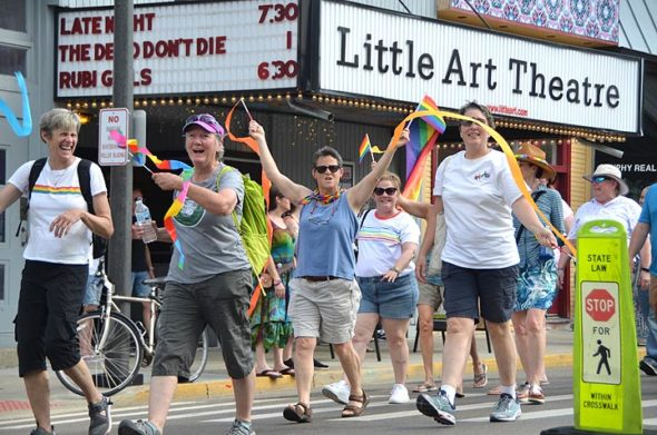 Hundreds of marchers took to the streets for the Yellow Springs Pride march as an estimated 5,000 from all around the region joyfully celebrated diversity. (Photo by Matt Minde)