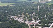 Yellow Springs News freelance photographer Luciana Lieff caught a ride on a biplane at the Springfield Barnstorming Carnival, and risked life and limb — or at least camera — to capture this aerial view of the village. (Photo by Luciana Lieff)