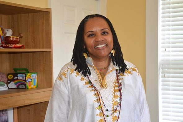 """Antioch College's Mental Health Counselor Nzingha Dalila has organized a  day-long symposium Saturday, July 27, titled """"Flow 2019: Ways of Knowing,"""" as part of the college's inaugural Summer Institute. (Photo by Carol Simmons)"""