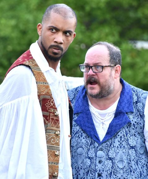 "Elias Kelley, left, gave a powerful performance as the titular character in the Yellow Springs Theater Company's production of ""Othello."" Here, he stands beside an indignant John Wysong, who played the roles of citizen, soldier and senator.  (Photo by Luciana Lieff)"