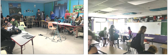 One factor that impacts student learning is the physical environment. Many survey respondents stated that the type of seating arrangement helps them learn, and that they mainly preferred classroom seats arranged in u-shapes (left) or in clusters, and not in rows (right). (Photos by Olivia snoddy)