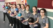 This year's Yellow Springs High School girls bowling team includes, from left to right, Carley Blakey, Carina Basora, Kiera Fogarty, Emily Ranard, Sierra Ward, Audrey Thomas, Kira Hendrickson, Zoe Clark, Sophia Lawson and Steph Burks. (Submitted photo by Assistant Coach Sharon Miller)