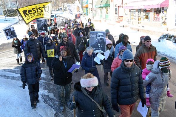 Villagers once again braved one of the colder days of the year to march in commemoration of the Rev. Martin Luther King Jr., and in support of his ideals. (Photo by Matt Minde)