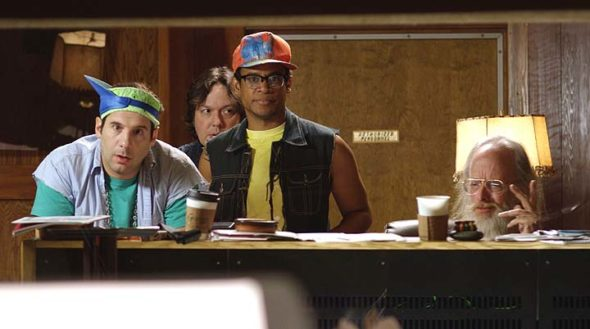"""Lance (Seth Herzog), New Guy (Dave Hill) and Henry (Jordan Carlos) with sound engineer Dave (Dave """"Gruber"""" Allen) — still in the studio after all these years, in a scene from """"Boy Band,"""" the first feature film from local comedy writer and filmmaker Joel Levinson. (Submitted photo)"""
