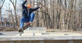 "Cameron Rohr, 20, of Springfield, performed a ""truck bash"" at the Village skatepark on Monday. Despite temperatures in the teens, Rohr slashed and soared with his friends for at least three hours. (Photo by Megan Bachman)"