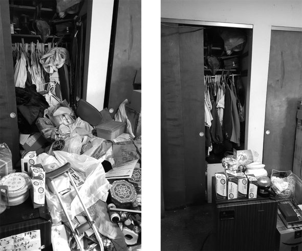 "Before and after of a client's bedroom closet. ""It's not a process of being shamed into anything, it's a co-operative process,"" said her client. ""There's still some to go but I can say anything that's gone from this room and the house, I don't miss it."" (Submitted photos by Anne Eberhardt)"
