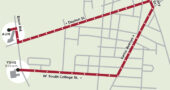 A map of the route grads will take on their graduation car parade route.