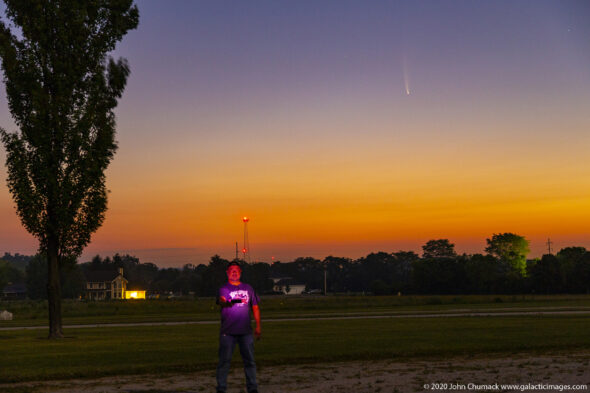UD researcher and astrophotographer John Chumack poses with his latest subject, comet NEOWISE, on July 10, 2020, just before dawn, in Enon.