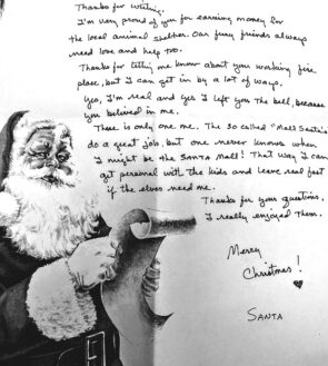 """A letter FROM Santa. (Photo by Lauren """"Chuck"""" Shows)"""