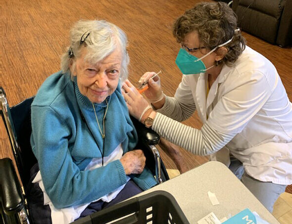 Friends Care resident Marilynn Birch, 99, was vaccinated at the center on Jan. 8. A total of 60 of 70 residents and more than half of the staff received their first dose that day. (Submitted photos)